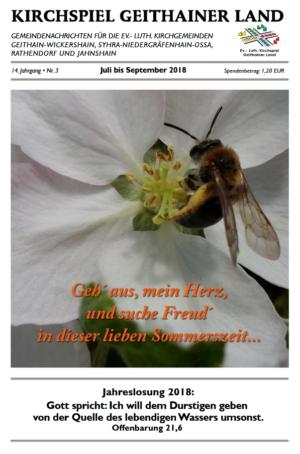 Titelbild zum Gemeindeblättchen des Kirchspiels Geithainer Land von Juli bis September 2018